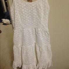 all white lace dress from Delias cross back all lace dress from delias with zipper on the side (picture 3) that's never been worn & has no damage to it Dresses Midi
