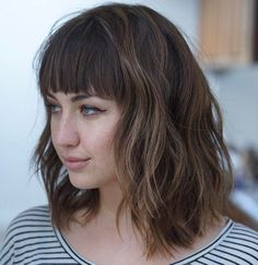 20 Modern Ways to Style a Long Bob with Bangs - Wavy Lob With Above The Eye-Brow Bangs - Long Bob Haircut With Bangs, Lob With Bangs, Long Bob Haircuts, Haircut Bangs, Blunt Bangs, Layered Haircuts, Medium Hair Cuts, Medium Hair Styles, Short Hair Styles