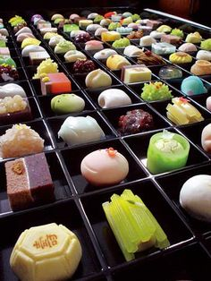 Wagashi: A traditional Japanese confection, made of mochi, bean paste and fruit,  which evolved into an art form.      http://blogs.sfweekly.com/foodie/2009/09/minamoto_kitchoan.php