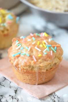 Donut Muffins glazed with Sprinkles