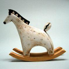 Colorful Miniature Ceramic Rocking Horse with Wood Base