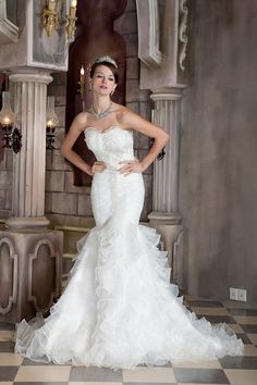 Trumpet/Mermaid Sweetheart Satin Organza Sweep/Brush Train Flouncing Wedding Dress