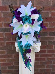 Cascade Silk flower bouquet-Jade Purple White with Peacock Feather Bouquet En Cascade, Silk Flower Bouquets, Flower Bouquet Wedding, Bridesmaid Bouquet, Silk Flowers, Feather Bouquet, Bridal Bouquets, Magenta Wedding, White Wedding Flowers