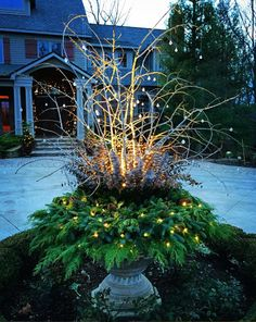 Superb Outdoor Winter Decor Ideas That Refresh Your Feel 18 Outdoor Christmas Planters, Christmas Urns, Outdoor Christmas Decorations, Christmas Home, Holiday Decor, Fall Planters, Outdoor Planters, Garden Planters, Fall Decor