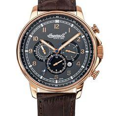 Ingersoll Russel IN3215RGY - Reloj cronógrafo automático para hombre, correa de cuero color marrón: Amazon.es: Relojes