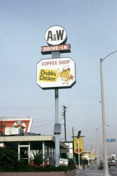 """westside-historic: """" A&W Root Beer/Chubby Chicken coffee shop at the corner of Wilshire Blvd and in Santa Monica in looking east. Salt Fish & Chips next door. West Los Angeles, Los Angeles Area, A&w Restaurants, Somewhere Down The Road, Bullhead City, A&w Root Beer, Vintage Restaurant, People Of Interest, Fish And Chips"""