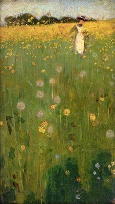 """""""The Dandelion Field"""" by William Nicholson (British, 1872–1949)"""