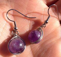 Wire Wrapped Purple Amethyst Bead Earrings