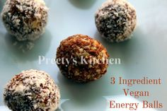 The best DIY desserts are easy, quick, and of course, delicious. If you're low on energy, these 3 ingredient vegan energy balls are the p. Beef Recipes, Baking Recipes, Vegan Recipes, Vegan Energy Balls, Dairy Free Snacks, Dairy Free Chocolate, Vegan Baking, 3 Ingredients, A Food