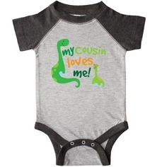 Inktastic My Cousin Loves Me Dinosaur Infant Creeper Baby Bodysuit Gift For Big Family Members Boys Childs Cute Relative One-piece Hws, Infant Boy's, Size: 24 Months, Black