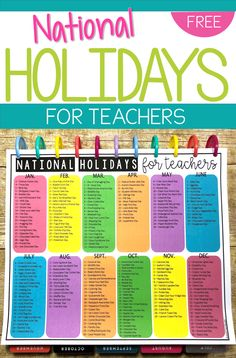 Theres literally a national holiday out there for EVERYTHING! So many that its crazy! As a teacher, there are so many that would be fun to celebrate in the classroom throughout the year. So this calendar is for you! National Celebration Days, List Of National Days, Weird National Holidays, National Months, Silly Holidays, Holidays In May, School Holidays, National Holiday Calendar, School Holiday Calendar