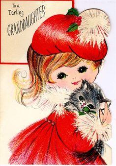 #midcentury #Christmas #greetingcard #girl #cat #kitten