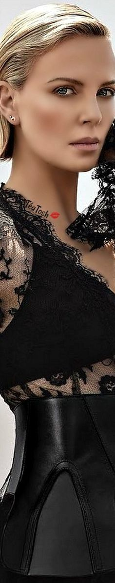 ❈Téa Tosh❈ Charlize Theron for Elle Shades Of Black, Color Shades, Colour, Flawless Face, Romantic Lace, Charlize Theron, Beautiful Gowns, Editorial Fashion, Blonde Hair