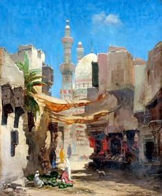 View of the Souks & Watermelon seller, Cairo  by Godefroy De Hagemann - French, 1820-1877  Oil on canvas , 55 cm x 46 cm