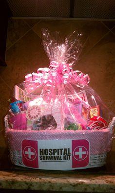Hospital Survival Kit - Got the idea here on Pinterest!