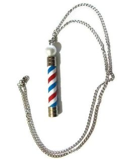 Items similar to Barber Pole Necklace. on Etsy Barbershop Design, Barbershop Ideas, Pole Lamps, Master Barber, Barbers Cut, Barber Supplies, Don Juan, Salon Style, Salon Design