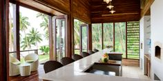 The Remote Resort: This intimate retreat is set on a 64-acre plot studded with pineapple and papaya trees.  Sliding doors