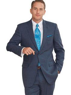 Paul Fredrick Men's Indigo Grid Pattern Wool \ Linen Two Button, Flat Front Suit Indigo 50 Long/45w
