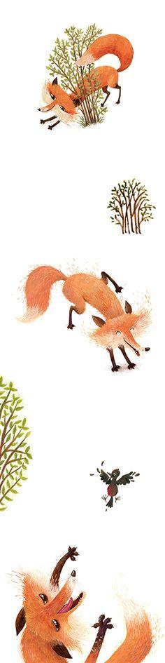 Three foxes | Illustration by Zarja Menart