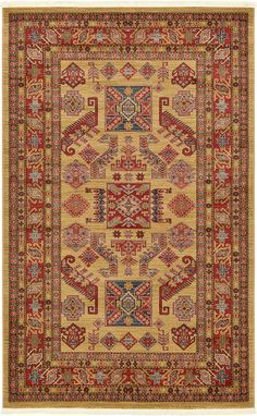 Country Traditional 5 feet by 8 feet (5' x 8') Heriz Beige Area Rug *** Special discounts just for this time only  : Area Rugs, Runners Pads