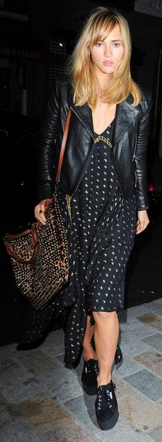 Suki Waterhouse in J BRAND's Aiah Leather Jacket in Black.
