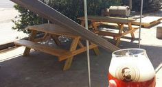 Outdoor seating at Adelbert's Brewery tasting room Austin, Texas