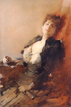 Portrait of a woman with a fan and a cigarette  1891. Francis Zmurko (1859 - 1910 )