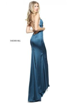 1bed61e4b30 Sherri Hill 51006 - Fitted Satin with Spaghetti Straps and Criss-Cross Open  Back Detail Prom Dress