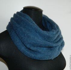 Купить Снуд в два оборота синий - синий, однотонный, снуд, снуд вязаный, снуд женский