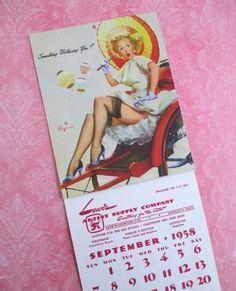 Vintage Gil Elvgren Pin-up Advertising Calendar  by 5and10vintage