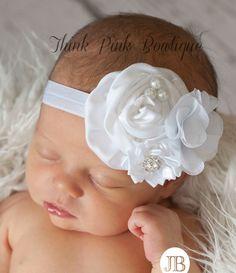 White Baby headband baby headbands Christening by ThinkPinkBows, $11.95