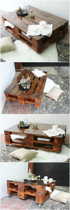 Mesa de palets con ruedas y vidrio. Pallet table with wheels and glass. Table made with pallets. Furniture with pallet tables. Furniture of pallePaletten DIY Couchtisch # Couchtische - Basic Dekor For nice DIY furnishings product of pallets - Diy Cr Diy Furniture Making, Diy Pallet Furniture, Diy Pallet Projects, Garden Furniture, Furniture Ideas, Table Furniture, Wood Projects, Diy Coffee Table, Diy Table