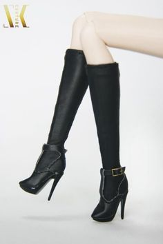 SK115 Black Fashion High Heels Boots for New Fashion Royalty body, Fr2