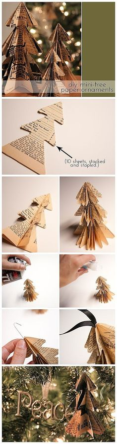 Possibly do in green scrapbook paper. for tree ornament that doesn't need spray paint. Diy Mini Book Page Tree ornament