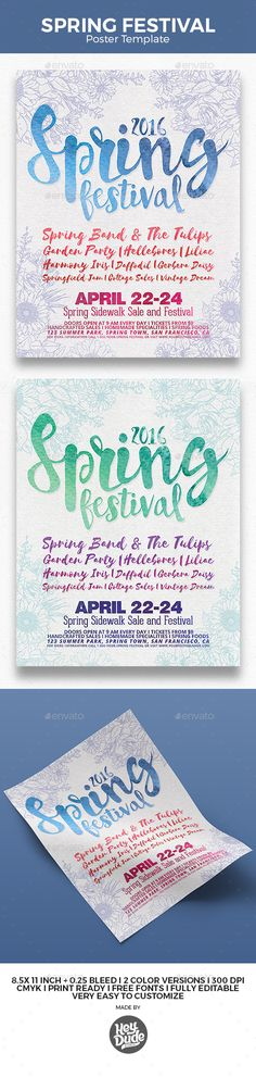 Spring Festival Poster by heydudestudio Spring Festival Poster Features:2 PSD files well layered psds easy editable text 8.511 inch   0.25 inch bleed 300dpiCMYK Print re