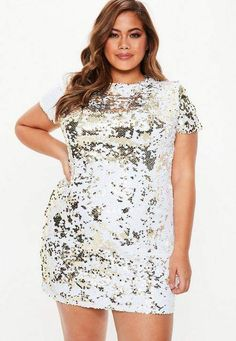 fdb57158e444 Missguided Plus Size Gold Two Way Sequin T-Shirt Dress