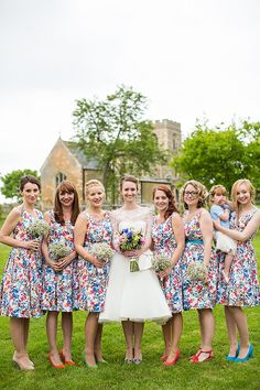 Floral Vintage Bridesmaid Prom Dresses Colourful Happy Home Made Countryside Barn Wedding Hertfordshire http://www.binkynixon.com/