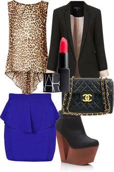 "Leopard Print, Royal Blue, Black Outfit with pink lipstick ""xo"" by celeste-xo on Polyvore"