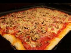 Pizza casera sin lactosa (atún, champiñones, york y bacon) / Lactose-free Tuna & Bacon Pizza