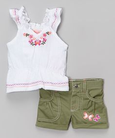 Look what I found on #zulily! White Embroidered Angel-Sleeve Top & Shorts - Toddler & Girls #zulilyfinds