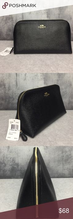 COACH NEW YORK CROSSGRAIN LEATHER COSMETIC CASE!! COACH NEW YORK CROSSGRAIN LEATHER COSMETIC CASE NWT!! Perfect size to for all of your necessities!! I would even use as small clutch when running into stores! CROSSGRAIN leather is very durable and looks super rich! Gold accents. One large inside compartment with one side pouch. Pouch is NWT NEVER USED. Measures 9'L x 3'W x 5.5'H Coach Bags Cosmetic Bags & Cases