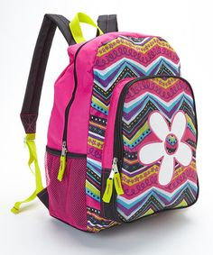 Another great find on #zulily! Pink & Yellow Zigzag Sparkle Flower Backpack #zulilyfinds