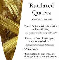 Rutilated quartz meaning. See separate board. Chakra Crystals, Crystals Minerals, Gems And Minerals, Crystals And Gemstones, Stones And Crystals, Healing Gemstones, Orange Crystals, Gem Stones, Crystal Healing Stones