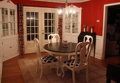 Dining room table redo idea - white base and chairs, dark top