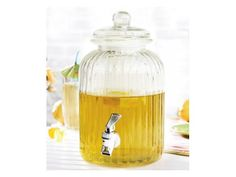 Vanilla lemonade and sparkling raspberry punch take center stage in this terrific beverage jar. Just fill it with any selection of drink and ice, and then press the nozzle to dispense delicious beverages. Raspberry Punch, Glass Beverage Dispenser, Catering Business, Beverages, Drinks, Garden Styles, Simple Designs, Entertaining, Bottle