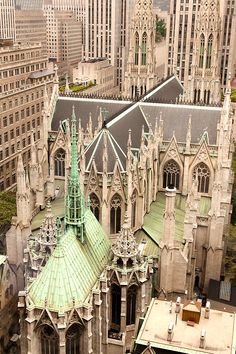 Love the verdigris of St. Patrick's Cathedral (Gothic) ~ NYC.