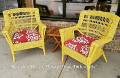 Set of fab yellow wicker chairs. Makes you smile.... https://www.instagram.com/p/BH0MW9pAzAA/#utm_sguid=126328,62d406f0-79ab-5551-a9ad-a21a25f64a54