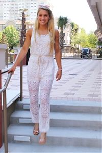 Talk of the Town Jumper #chic #white #lace #pant #jumper #amazing #openback #gorgeous #flirty