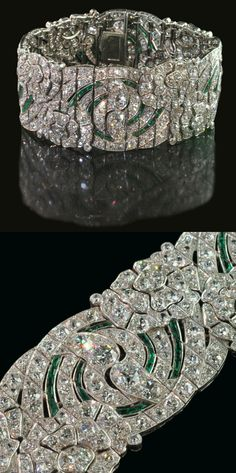 Beautiful and rare diamond and emerald open-work strap bracelet of repeating floral and foliate-scroll design Auger Frères, Paris circa 1930