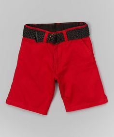 Look at this Red Belted Shorts - Toddler & Boys on #zulily today!